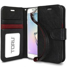 Amazon.com: Galaxy S6 Edge Case, TORU [Prestizio Wallet] S6 Edge Wallet Case with [CARD SLOT][ID HOLDER][KICKSTAND][WRIST STRAP] - Premium Wristlet Leather Flip Cover for Samsung Galaxy S 6 Edge - Black: Cell Phones & Accessories