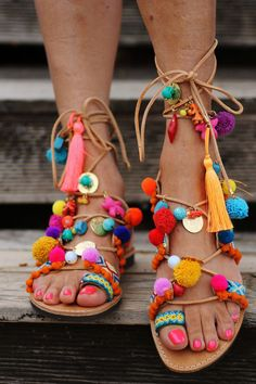 Handmade pure greek leather gladiator sandals decorated with handmade friendships straps (sewn onto the shoe), colorful pom poms, semiprecious