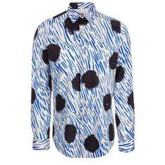 Chemise homme blanche, imprimé vif «Spot Stripe» (rayures et gros pois dessinés à la main), manches longues, coupe slim. Fabriquée en Italie dans un tissu léger 100% coton.