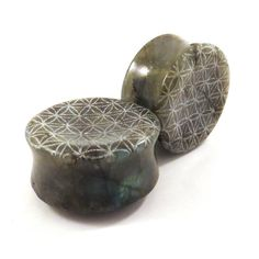 Flower of Life Concave Labradorite Plugs 1 1/4 door EarEmporium