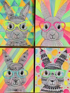 Funky Easter Bunnies #zentangle #drawing #artforkids Classroom Art Projects, School Art Projects, Art Classroom, Easter Arts And Crafts, Bunny Crafts, Bunny Art, Bunny Drawing, Easter Drawings, Spring Art Projects
