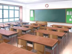 Class Room Background by AmberClover on DeviantArt Salle de classe Scenery Background, Living Room Background, Animation Background, Episode Interactive Backgrounds, Episode Backgrounds, Anime Backgrounds Wallpapers, Anime Scenery Wallpaper, Anime Classroom, Casa Anime