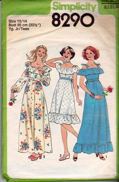 1970s Young Junior Teen Peasant Dress or Maxi Vintage Sewing Pattern Simplicity 8290 Size 13/14 or 5/6
