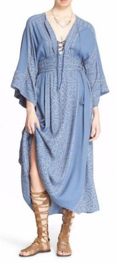 "Free People Modern Kimono""  Maxi Dress Blue Size 8 MSRP $168 save! #FreePeople…"