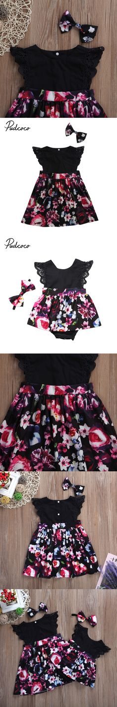 Cute Newborn Toddler Kids Girls Floral Clothes Sister Match Tutu Skirted Romper Lace Dress Headband 2PCS Family Matching Clothes