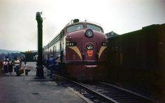 Pennsylvania Railroad EMD E8A #5701 at Steubenville, Ohio on June 12, 1953.