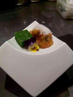 Spinach fland w/ oyster beignet n clam foam Amuse
