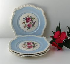 4 Vintage Johnson Brothers Windsor Ware floral by RecentHistory