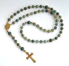 Gemstone Rosary Beads Moss Agate and Mountain Jade gemstones. All Rosary Beads are made to order. Please allow 2-3 weeks for shipment. Shipping Most jewelry is made to order. Therefore, please allow u