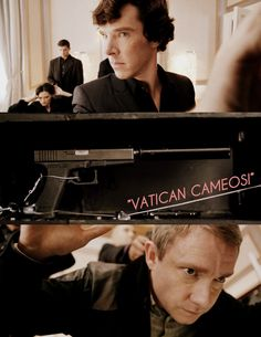'Vatican Cameos' is a phrase used when Sherlock is about to open Irene Adler's safe. The phrase first originated in World War 2. It was used when a non-military person, who was armed (gun or knife) entered a British military base. The phrase was a signal for everyone to duck out of the line of fire. Sherlock knew that John, being a military man, would recognise this phrase and duck out of the way of the gun in the safe.