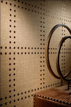 nailhead detail on burlap/fabric wall- single accent wall with wainscot on others?