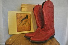 Vintage+red+leather+cowboy+boots++Size+8+by+inreverievintage,+$40.00