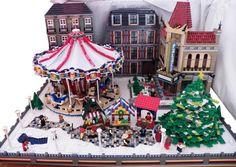 Custom Lego Christmas Scene.  Love the stone walkway peeking through the snow