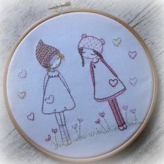 These two little friends are very simple to stitch for beginner embroiderers.  The pattern was designed for a kit based on my three girls pattern, but