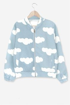 Cute Bomber Jacket With Cloud Print