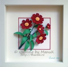 Bouquet of Scarlet Red Flowers in a White Shadowbox Frame