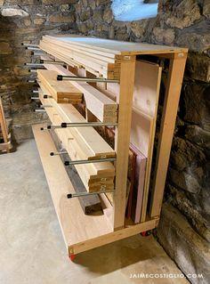 Lumber Storage Rack, Plywood Storage, Lumber Rack, Garage Tool Storage, Wood Rack, Workshop Storage, Diy Storage, Furniture Storage, Storage Cart