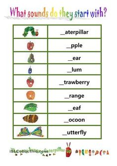 "Phionics-beginning sound with ""The very hungry caterpillar"" worksheet - Free ESL printable worksheets made by teachers Very Hungry Caterpillar Printables, Hungry Caterpillar Craft, Book Activities, Preschool Activities, Movement Activities, Teaching Resources, Teaching Ideas, Writing Worksheets, Printable Worksheets"