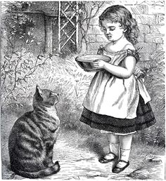 Public Domain Download Girl with Cat - Sweet!   This Old Fashioned Image was scanned from a Circa 1868 Children's Magazine! Shown above is a beautiful Illustration of a little Victorian Girl, bringing a Bowl of Milk to a cute Kitty Cat! I think this would be nice to use on some pretty Handmade Note cards, fun to color in too!