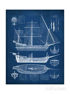 Antique Ship Blueprint I Art Print at AllPosters.com