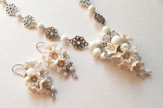 #White jewelry  #Flower jewelry  Lily of the valley  by #insoujewelry, $80.00