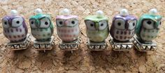Set of 6 Beaded Owl Pushpins by justynainteriors on Etsy