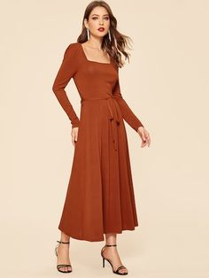 70s Square Neck Belted Waist Fit And Flare Dress [dress181123704] - $42.00 : moonbaye.com