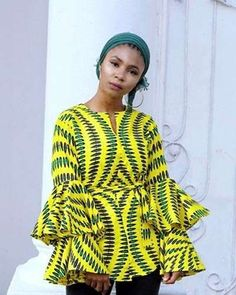 Collection of the most beautiful and stylish ankara peplum tops of 2018 every lady must have. See these latest stylish ankara peplum tops that'll make you stun African Blouses, African Tops, African Dresses For Women, African Print Dresses, African Attire, African Fashion Dresses, African Wear, African Women, Ankara Fashion