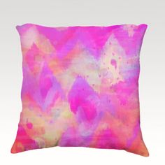 BOLD QUOTATION, Revisited, Fine Art Velveteen Throw Pillow Cover 18 x 18 Abstract Raspberry Magenta Pink Chevron Pattern Dorm Home Decor