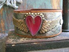 Winged heart leather cuff bracelet - Love Has Wings - Angel wings red wine heart jewelry western country boho jewelry soldered