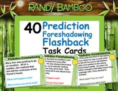40 Prediction Task Cards (includes Foreshadowing and Flashback--plus 40 extra cards.same stories, different questions). Language Immersion, Drawing Conclusions, Guided Practice, Math Task Cards, Page Protectors, Math Word Problems, 8th Grade Math, Context Clues, Math Words