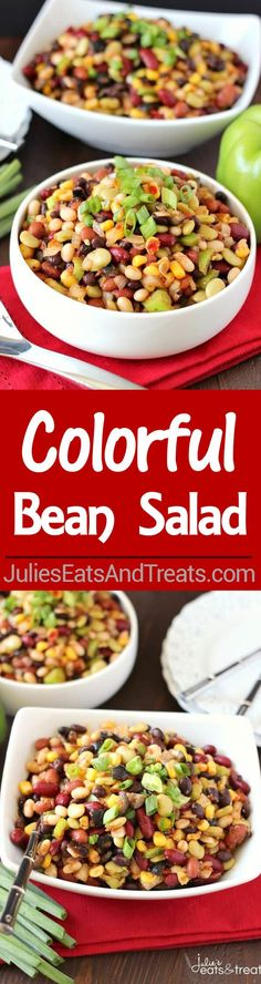 Colorful Bean Salad ~ Every main dish deserves a great side dish and this salad is it! A delicious array of flavors and beans brings this side dish to a whole new level. Plus it's easy to throw together on a busy night!