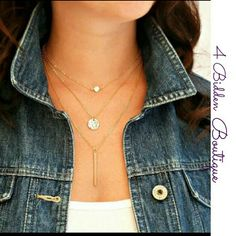 New layered necklace New gold tone layered necklace 4 Bidden Boutique Jewelry Necklaces