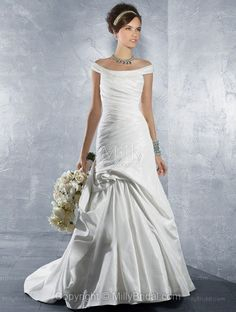 Trumpet/Mermaid Off-the-shoulder Ruche Bandage Taffeta Chapel Train Wedding Dress at Millybridal.com
