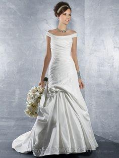 Trumpet/Mermaid Off-the-shoulder Ruche Bandage Taffeta Chapel Train Wedding Dress at Millybridal.com