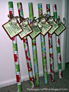 Neighbor Gift Idea--Poem reads:  Since Nov. you've been shopping,  barely sleeping, hardly stopping.  Now it's late you're in a scrape,   out of paper, out of tape.   Hope this wrap helps save the day!  Have a Happy Holiday!