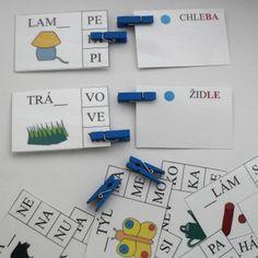 obrázková škola, neúplná slova, kolíčky, čeština Montessori, Education, School Stuff, Onderwijs, Learning