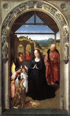 The Adoration of the Angels / Nativity (from the Polyptych of the Virgin) - Dieric Bouts.  1445.  Oil on wood.  80 x 56 cm.  Museo del Prado, Madrid, Spain.
