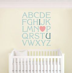 Alphabet Nursery Wall Decal Vinyl  I Love You Wall by DecalSisters, $45.00