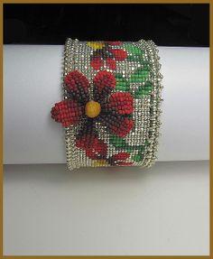 "www.beadsbeadingbeaded.com ""Red Velvet Cone Flower Cuff"" Loom woven by Erin Simonetti"