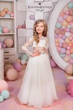 Items similar to Ivory Flower Girl Dress - Birthday Wedding Party Holiday Bridesmaid Flower Girl Ivory and Tulle Lace Dress on Etsy Prom Party Dresses, Birthday Dresses, 15 Dresses, Girls Dresses, Wedding Dresses, Dress Party, Dresses Online, Satin Dresses, Cheap Flower Girl Dresses