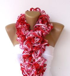 Hand Knit Ruffled Scarfmulticolor scarf2013 NEW TREND by seno, $25.00