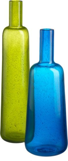 I'd like to get some pretty glass vases for the fireplace someday.. color glass vases | CB2