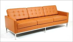Florence Knoll: Sofa Reproduction in Golden Tan Premium Leather