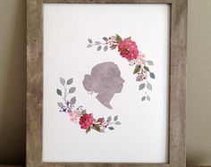 Custom Silhouette (from your photo) - Digital File - print yourself - Single Profile Portrait with Watercolor Floral Wreath - 8x10 inch