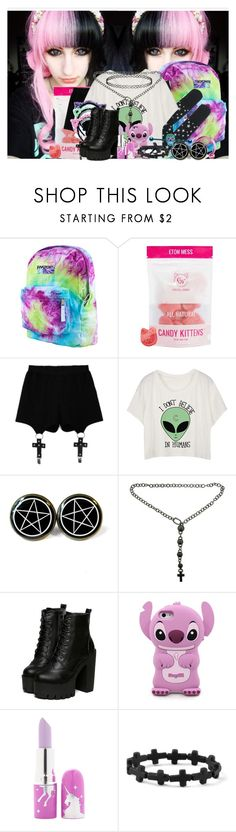 """""""Pastel"""" by joysmith881 ❤ liked on Polyvore featuring JanSport, Chicnova Fashion, Mikimoto, Disney, Lime Crime, claire's, Topshop, pastel, pastelgoth and Jaypurdy"""