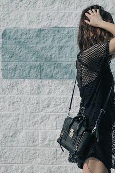 Michelle Take Aim - All black outfit, 3.1 Phillip Lim Mini Pashli