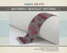 Peyote Bracelet Pattern - BUTTERFLY BRACELET in Raspberry - Digital Download