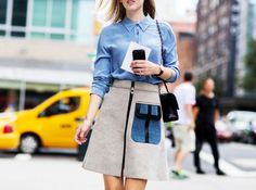 A lovely denim and wool look for early fall // Photo: The Styleograph #NYFW #streetstyle
