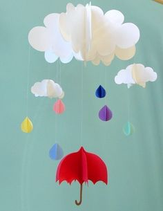 Items similar to Baby Mobile - Rain Baby Mobile, Umbrella Baby Mobile, Raindrops Hanging Baby Mobile, Paper Mobile, Nursery Mobile on Etsy 3d Mobile, Paper Mobile, Baby Mobile, Hanging Mobile, Cloud Mobile, Diy And Crafts, Crafts For Kids, Arts And Crafts, Paper Crafts